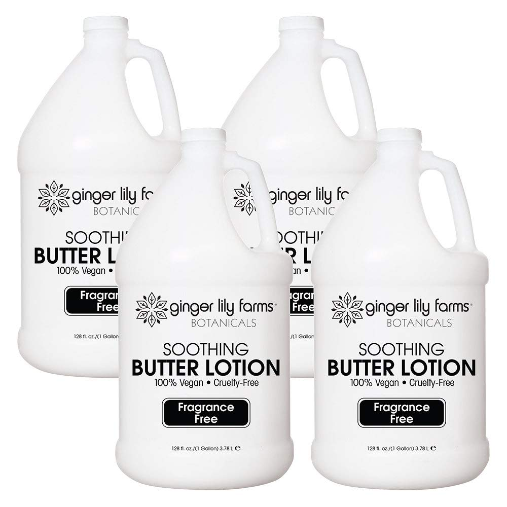 Ginger Lily Farms Botanicals Fragrance-Free Soothing Butter Lotion, 100% Vegan, Paraben, Sulfate, Phosphate, Gluten & Cruelty-Free, 1 Gallon (Case of 4)