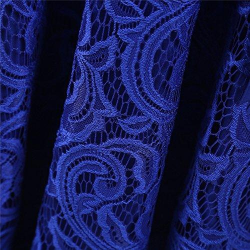 Dressystar Élégante Dentelle Col V Manches 3/4 Robes Invité De Mariage De Demoiselle D'honneur Robe Midi Taille Fine Bleu Royal