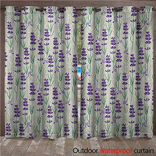 Beads Spa Aromatherapy (WilliamsDecor Lavender Outdoor Curtains for Patio Sheer Botanical Pattern with Fresh Herbs Aromatherapy Spa Theme W96 x L108(245cm x 274cm))