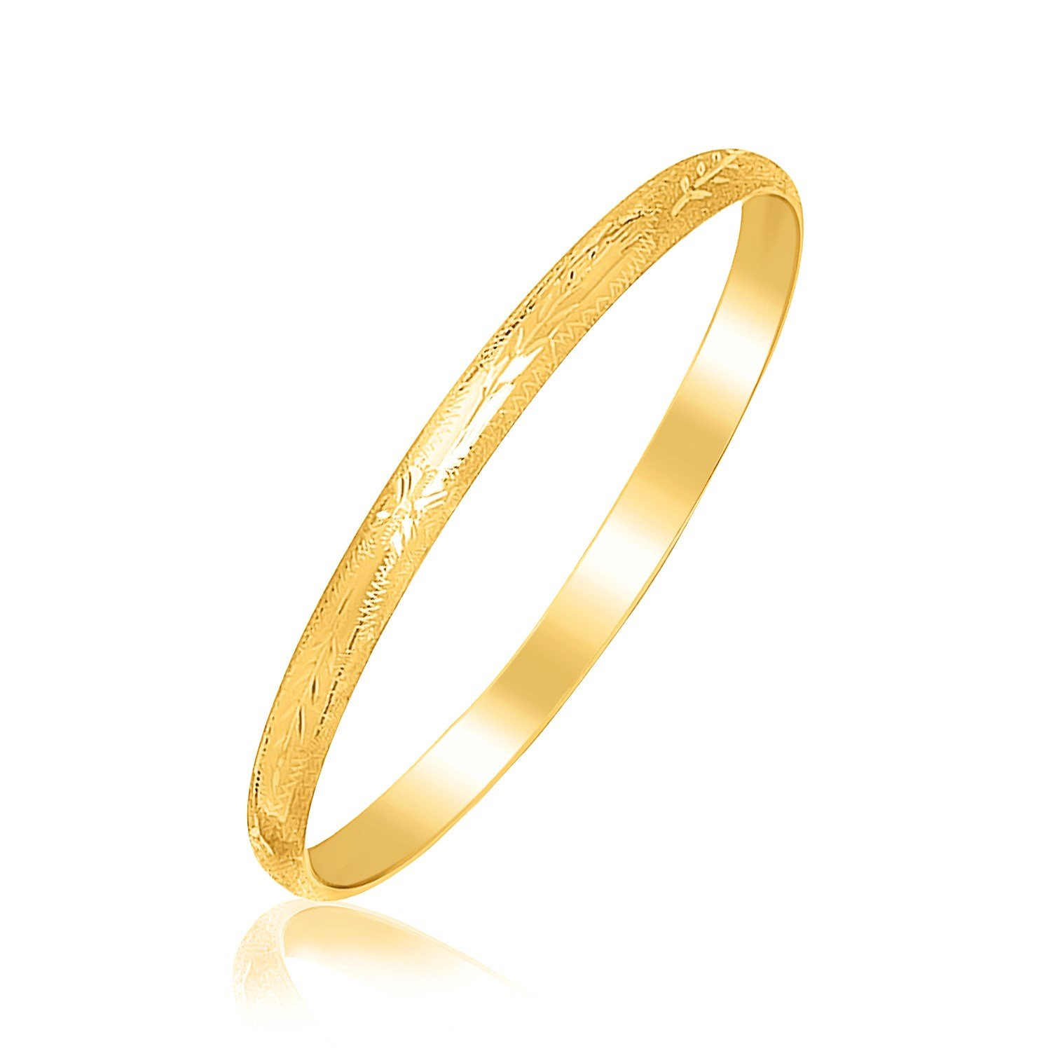 14K Yellow Gold Childrens Bangle with Floral Diamond Cuts
