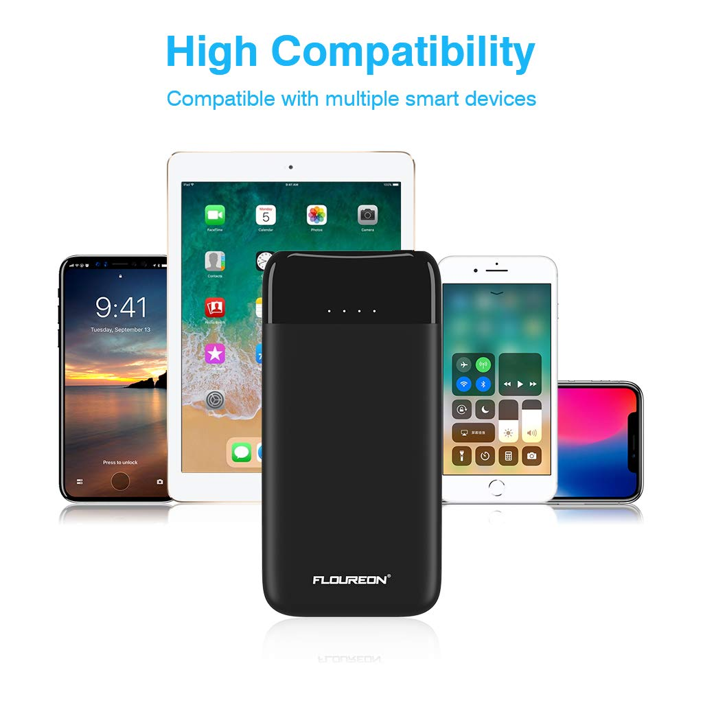 FLOUREON 10000mAh Portable Power Bank External Battery Pack with QC 3.0 High Speed Output (Black)