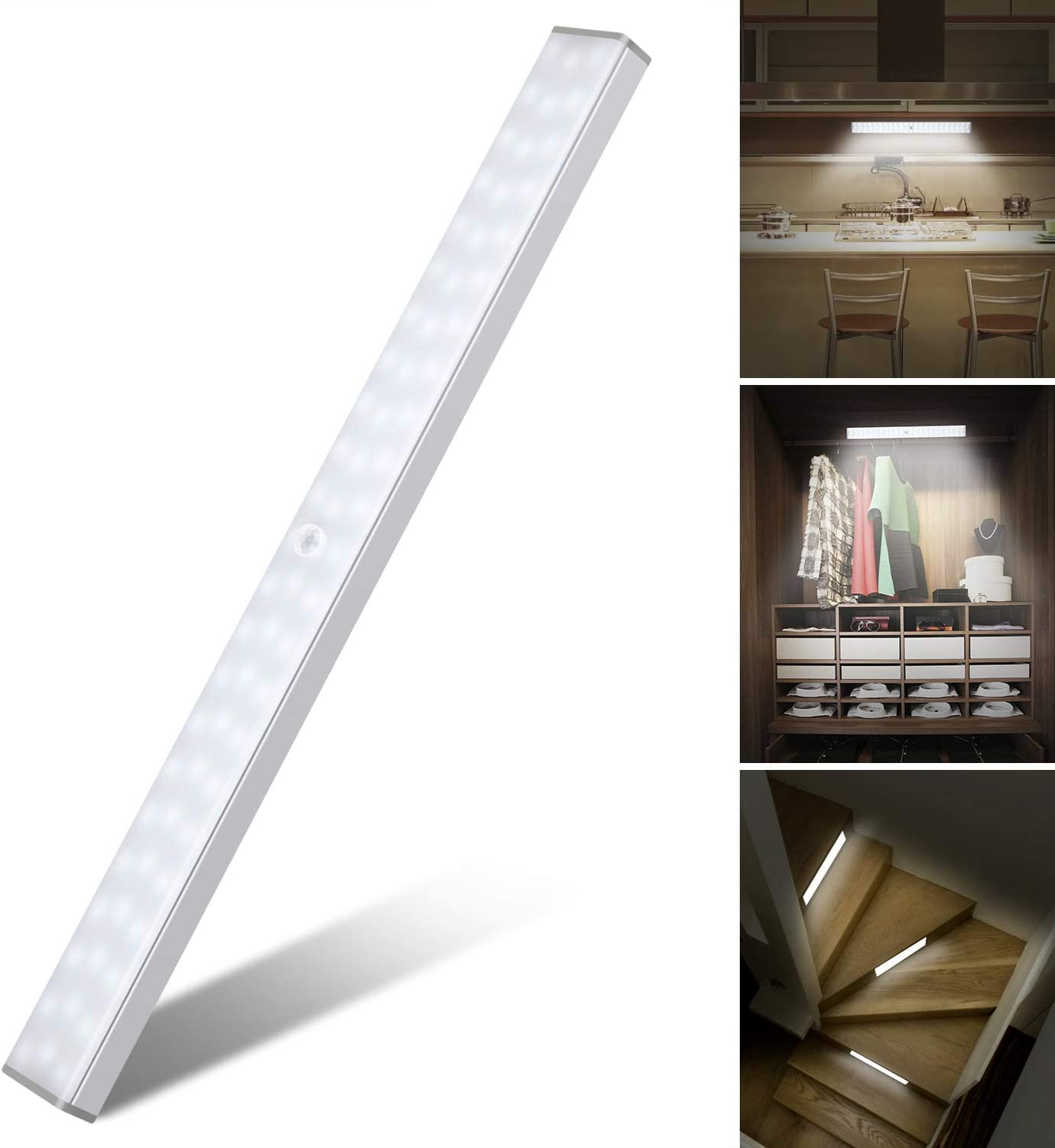 LED Closet Light, Under Cabinet Lighting Rechargeable Wireless Motion Sensor Closet Light for Wardrobe, Kitchen and Stairs, Closet, Under Cabinet, Hallway with Magnetic Strip