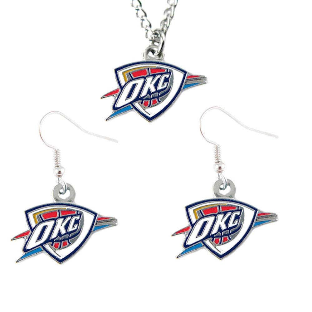 Oklahoma City Thunder Necklace And Dangle Earring Charm Set NBA [Misc.]