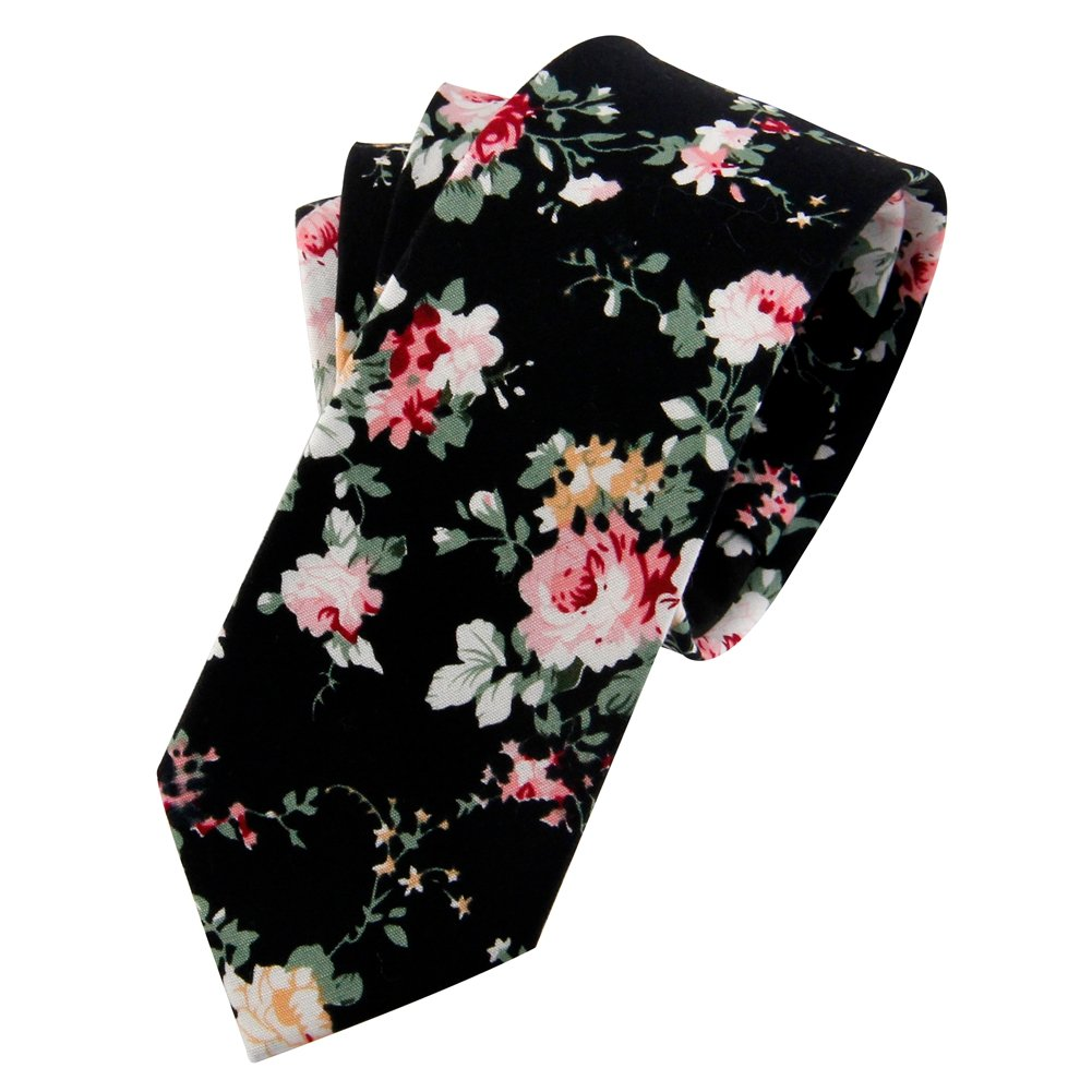 Mantieqingway Men's Cotton Printed Floral Neck Tie 015 ¡­
