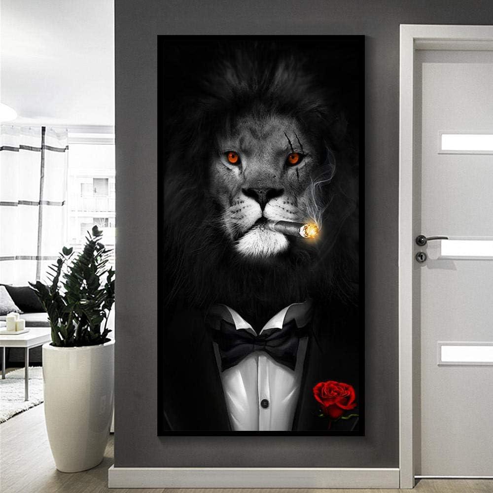 MEKVF Cuadros Decoracion Blanco Y Negro Elegante León Tigre Elefante Jirafa Lobo Caballo Arte De La Pared Carteles E Impresiones Animal con Sombrero Lona