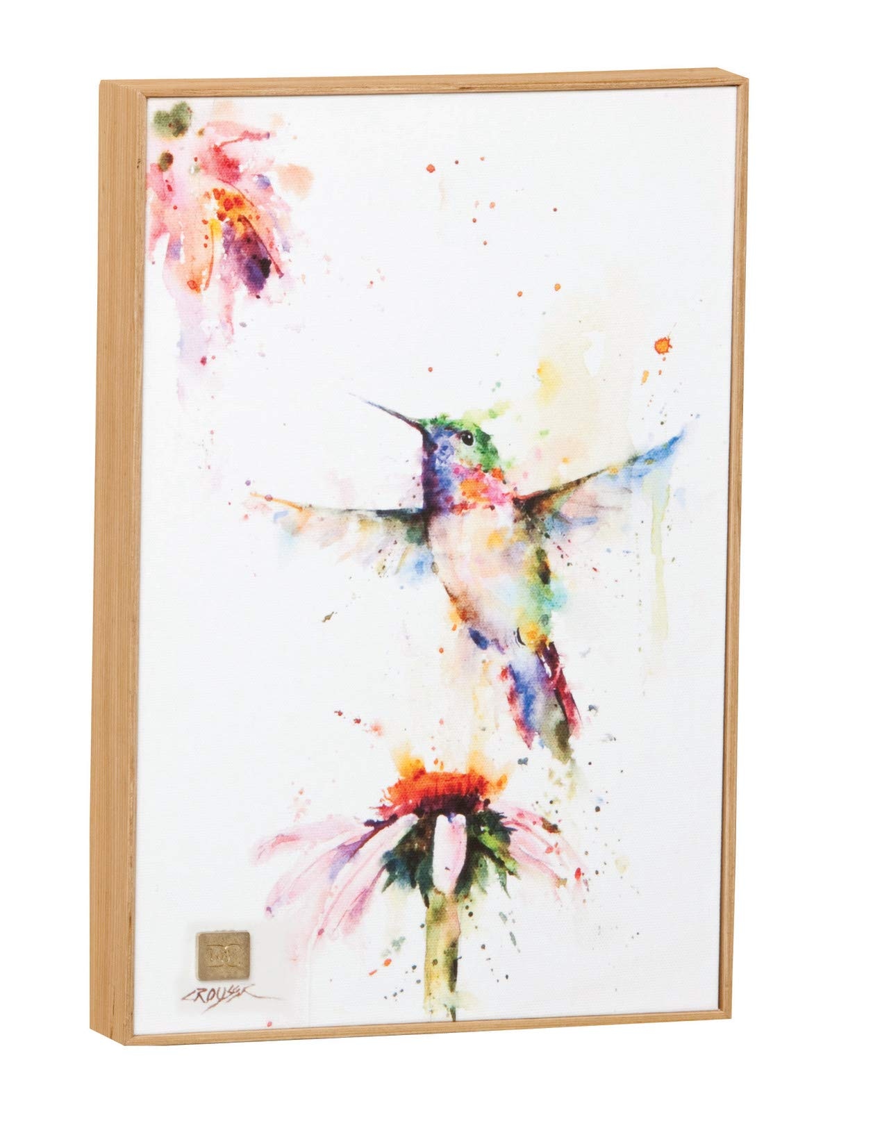 DEMDACO Big Sky Carver Peewee Hummingbird Wall Art - Measurements: 8.25W x 12.25H Made from: canvas, Solid wood, wood composite, brass Has sawtooth hanger for easy wall display - wall-art, living-room-decor, living-room - 61xJcrcDgaL -