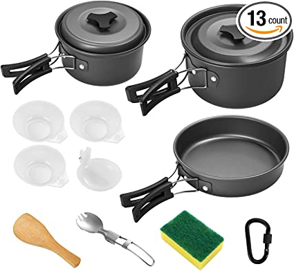 11Pcs//Set Portable Camping Cookware Kit Outdoor Picnic Cooking Hiking Equipment