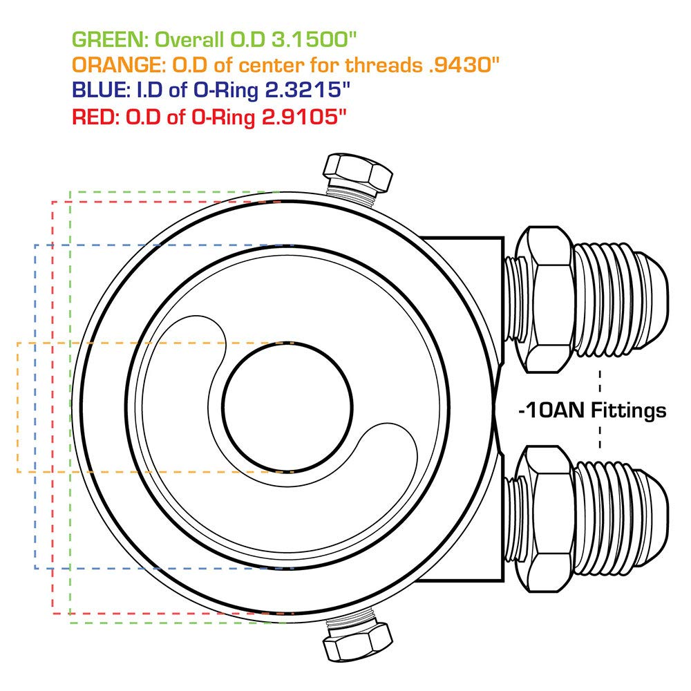 GlowShift Oil Cooler Sandwich Adapter 20mm 1.5 Thread
