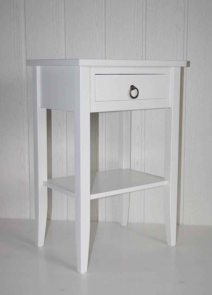 Casa Massivholz Beistelltisch Telefontisch Nachttisch weiß