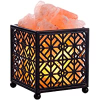 Creative Design Natural Himalayan Salt Lamp with Metal Basket for Air Purifying