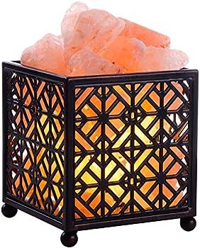 Creative Design Natural Himalayan Salt Lamp with Metal Basket