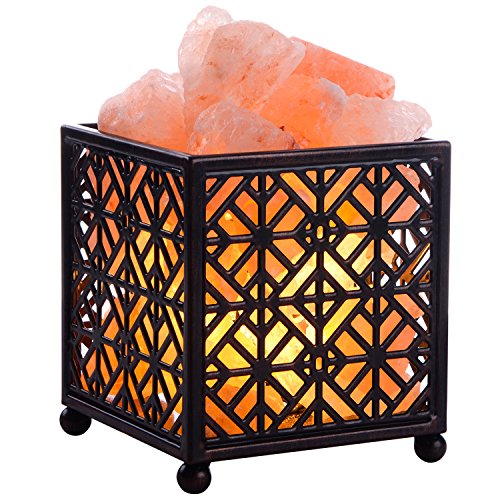 Himalayan Salt Lamp,CREATIVE DESIGN Salt Lamp Natural Salt Rock Lamp with Metal Basket for Air Purifying Bedrom Decor, Included UL Cord, On/Off Switch and Bulbs. (5Height, 4 - 4.8 lbs)