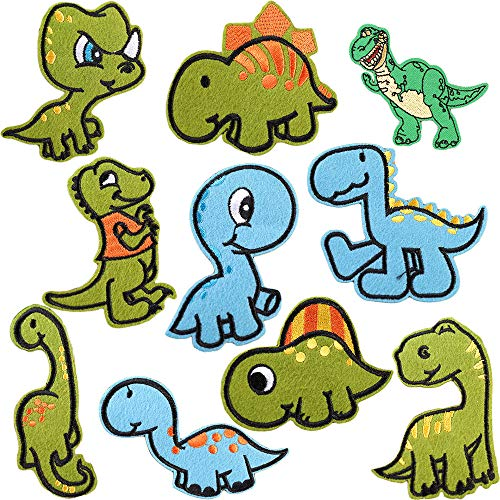 Kids Dinosaur Jackets Patches Cute Iron on Embroidered Patches Assorted DIY Craft Applique Patches Delicate Sew on Patches for Repairing Hole Decorative Backpack Patches for Jeans, Clothes, Garment