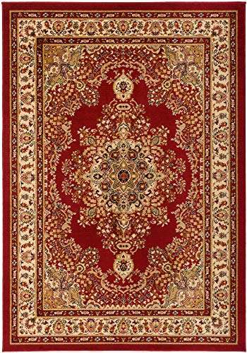Antep Rugs Siesta Collection Traditional Oriental Polypropylene Indoor Area Rug (Maroon/Beige, 5' x -