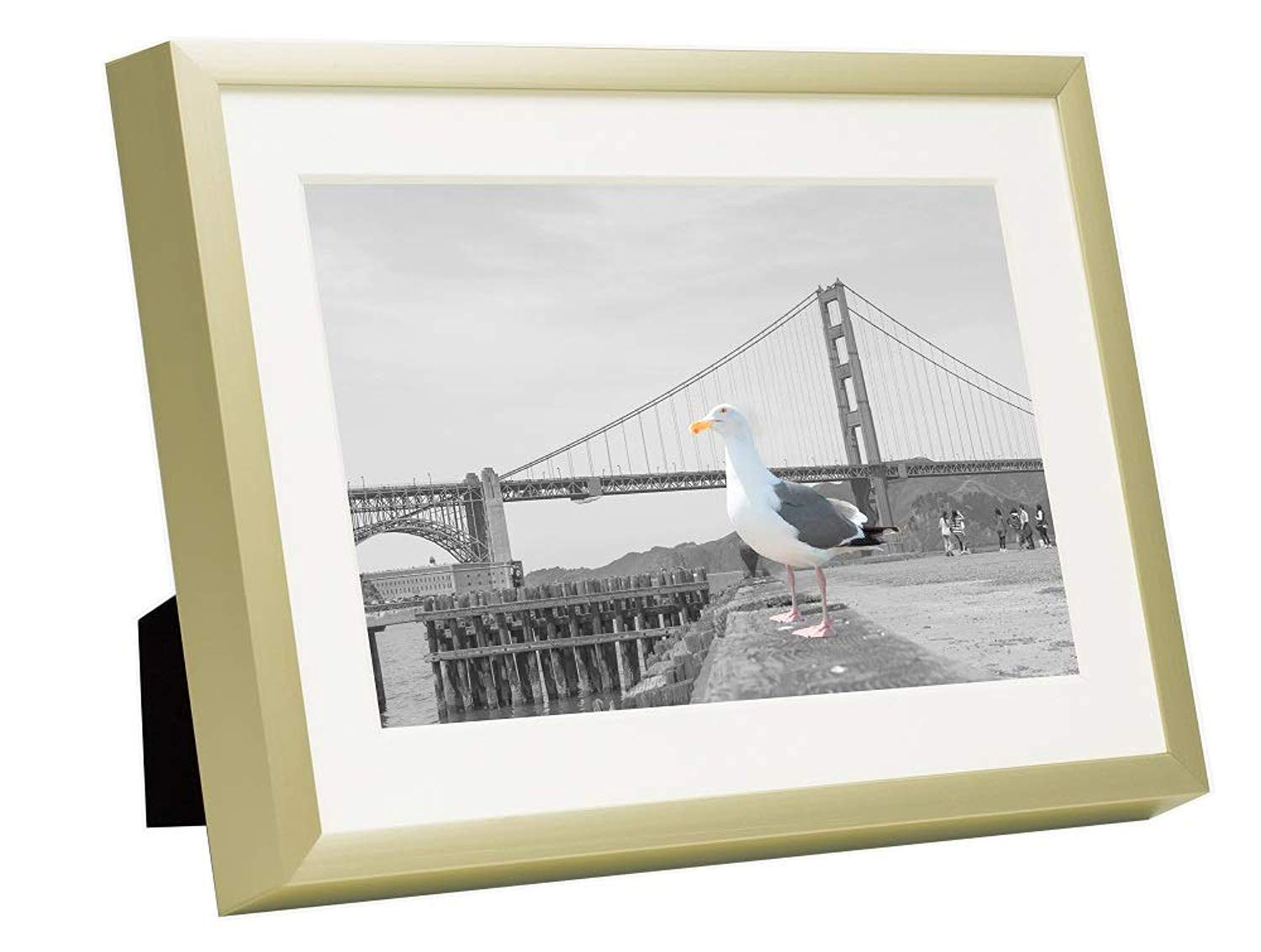 Frametory Gold Ivory Color Mat for 4x6 Picture 5x7 Gold Aluminum Frame Wall//Tabletop Display Easel Stand