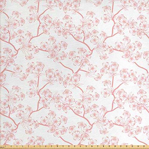 Ambesonne Cherry Blossom Fabric by The Yard, Retro Revival Sakura Pattern in Soft Color Chinese Japanese Culture Art, Decorative Fabric for Upholstery and Home Accents, 1 Yard, White - Chinese Designs Fabric