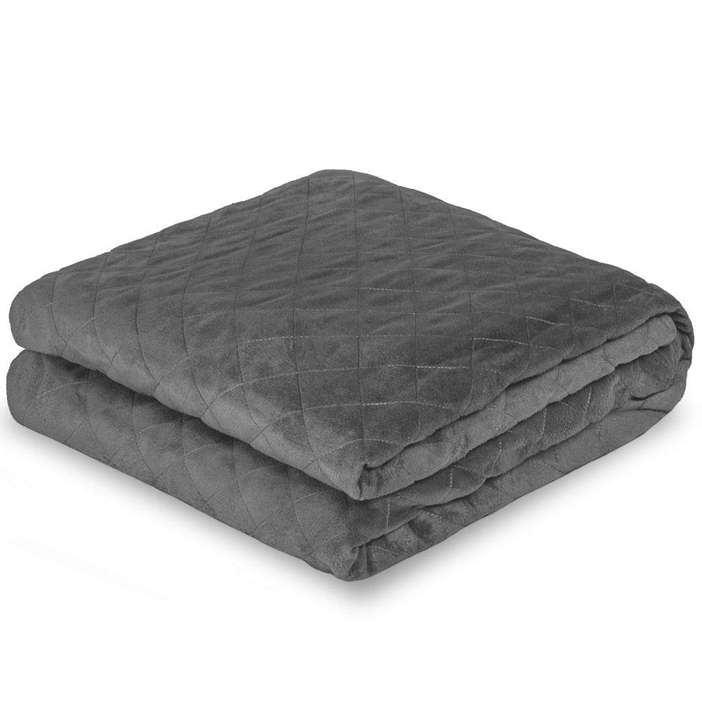 """Ultra-Soft Minky Removable Duvet Cover for Weighted Personal Comfort Blanket Cover, Easy Care - Quilted Diamond Pattern (60""""x80"""", Grey)"""