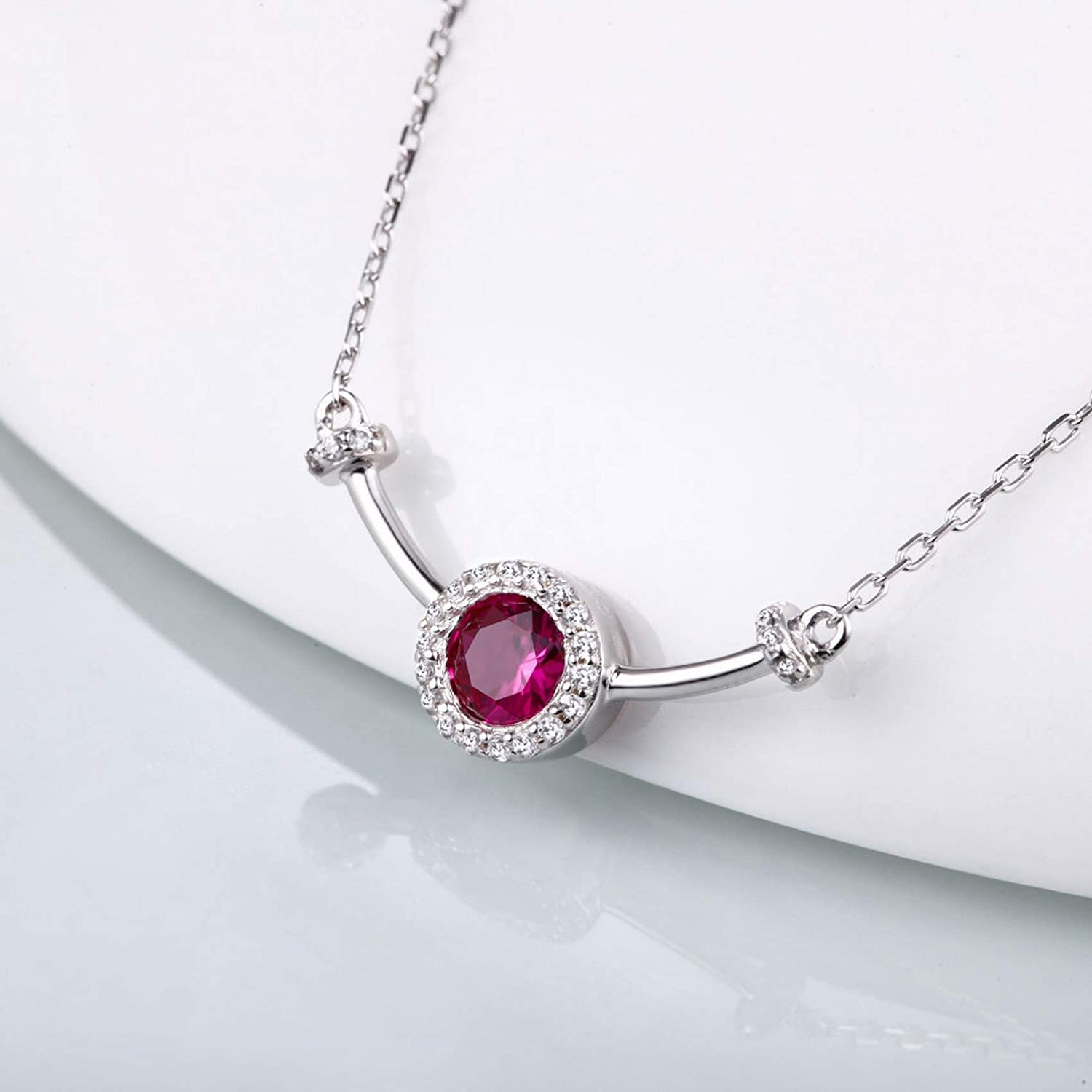 MMC Silver Necklaces Round Red Ruby Womens Pendants
