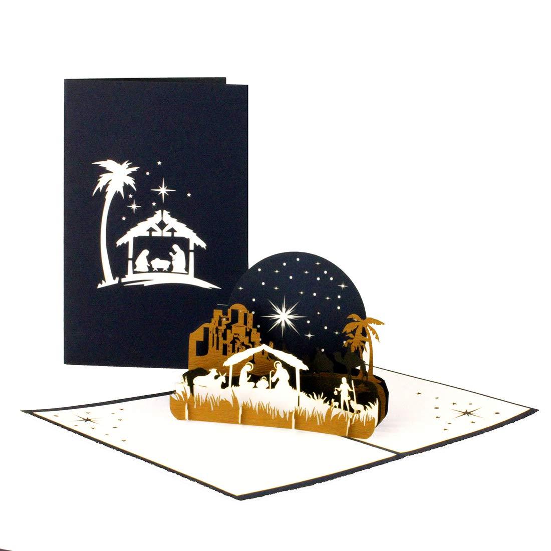 """3D Weihnachtskarte /""""Heilige Familie Weihnachten/"""" Edle Pop-Up Karte zu Weihnachten mit Krippe in Blau /& Wei/ß"""