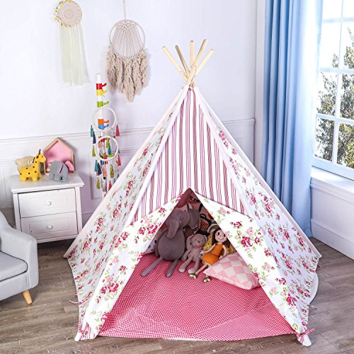 Asweets Large 5 Walls Kids Teepee Tent for Princess, Rainbow and Flower Combined 100% Natural Cotton Canvas, Includes Carry Case, Window and Floor Mat, By -