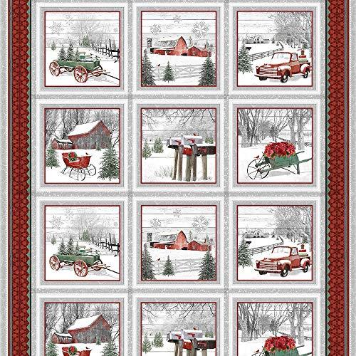 Christmas Glass Blocks - Henry Glass Fabrics Holiday Homestead Jan Shade Beach Red Grey Christmas Farm Block Panel
