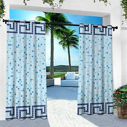 Hengshu Aqua, Outdoor Privacy Curtain for Pergola,Antique Greek Border Mosaic Tile Squares Abstract Swimming Pool Design, W120 x L108 Inch, Pale Blue Navy Blue Beige