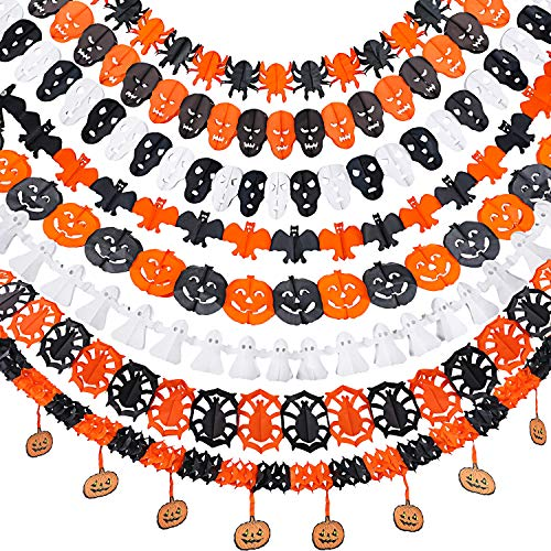 Jetec 8 Pack Halloween Paper Garlands Halloween Banners Pumpkin Spider Bats Ghost Skull Hanging Garlands for Door Wall Halloween Party Decorations, 8 Styles