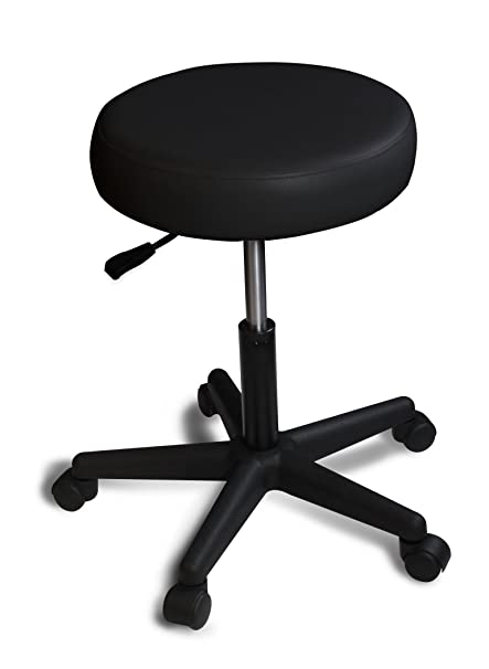 Spa Luxe Rolling Adjustable Swivel Stool Home Office And Beauty Black
