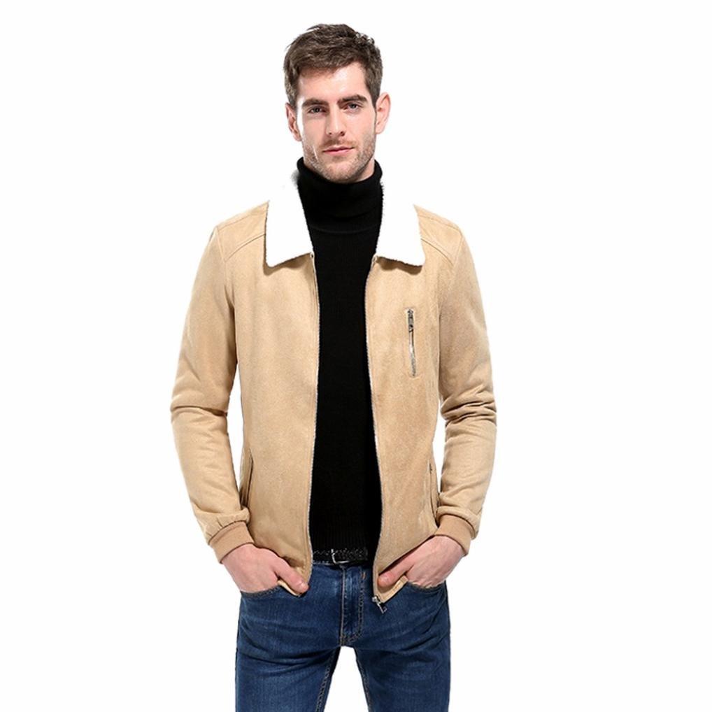 Motorcycle Jacket,Cool Men's Coat Suede Patchwork Turndown Collar Zipper Jacket Sweatshirt Tops Outwear (Khaki, Asian:L) by WM & MW