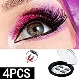 3D Black Dual Magnetic,Gendsky Magnetic False Eyelashes, Ultra Thick Ultra Solf And Long for Entire Eyes, Glamorous, Natural Look, Handmade Reusable Eyelashes (Black) 1 Pair/4Pcs
