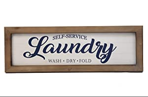 """Designstyles Laundry Room Décor Plaque– """"Self-Service Laundry, Wash, Dry Fold"""" Print - Decorative Wooden Door and Wall Sign – Vintage, Rustic, Chic Laundromat Style for Home Idea"""