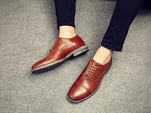 Happyshop (tm) Mens Läder Mode Finskor Affärer Skor Bröllop Skor Rödbrun
