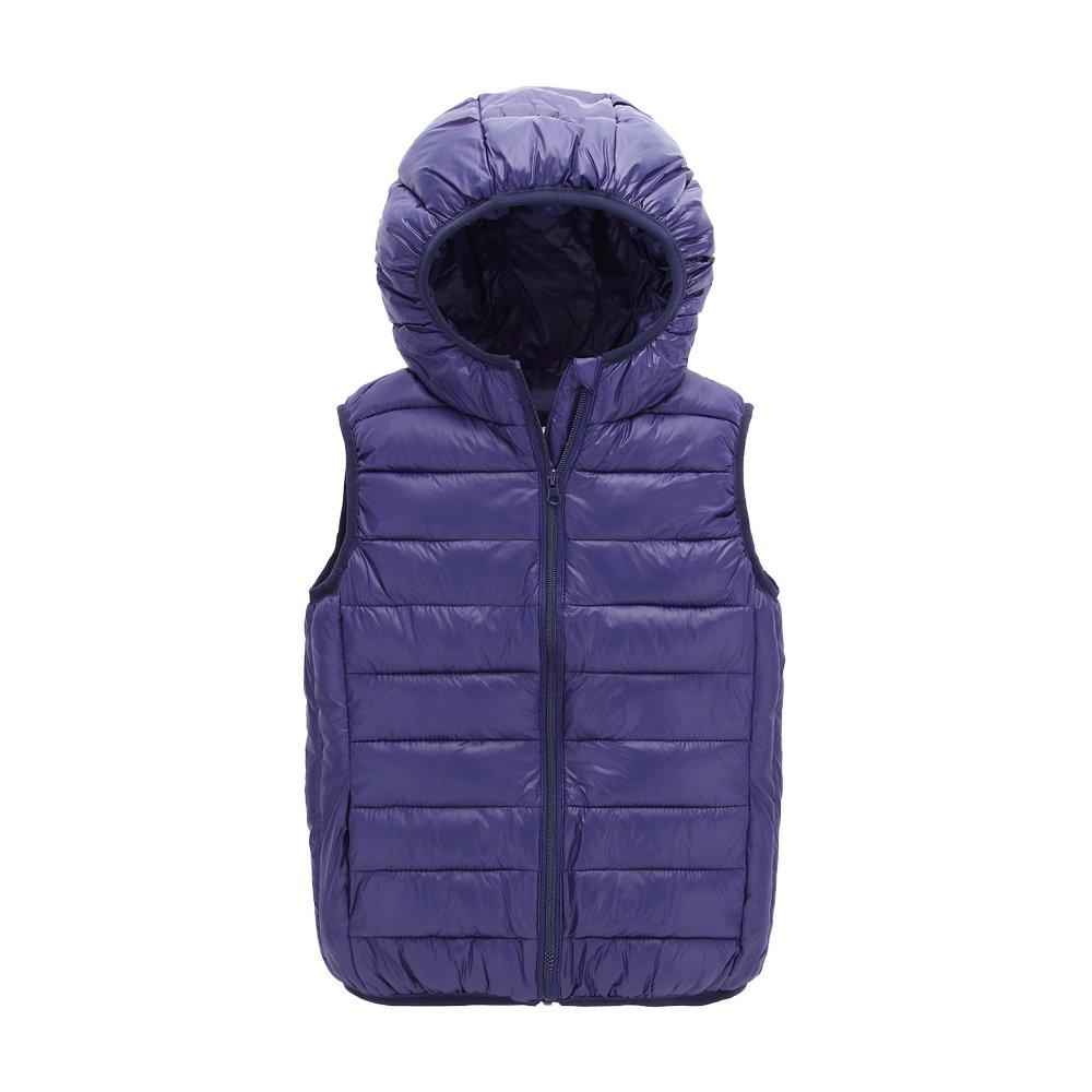 UGREVZ Children Girls Vest Hooded Waistcoats for Boy Outerwear(S005Navy-12T)