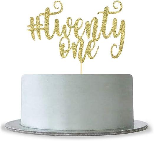 Pleasant Amazon Com Gold Glitter Twenty One Birthday Cake Topper For 21St Birthday Cards Printable Giouspongecafe Filternl