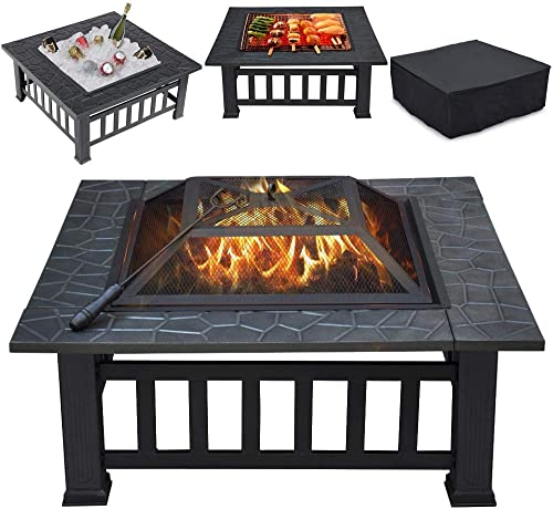 Yaheetech Multifunctional Fire Pit Table 32in Square Metal Firepit Stove Backyard Patio Garden Fireplace