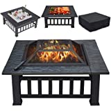 Yaheetech Multifunctional Fire Pit Table 32in Square Metal Firepit Stove Backyard Patio Garden Fireplace for Camping, Outdoor