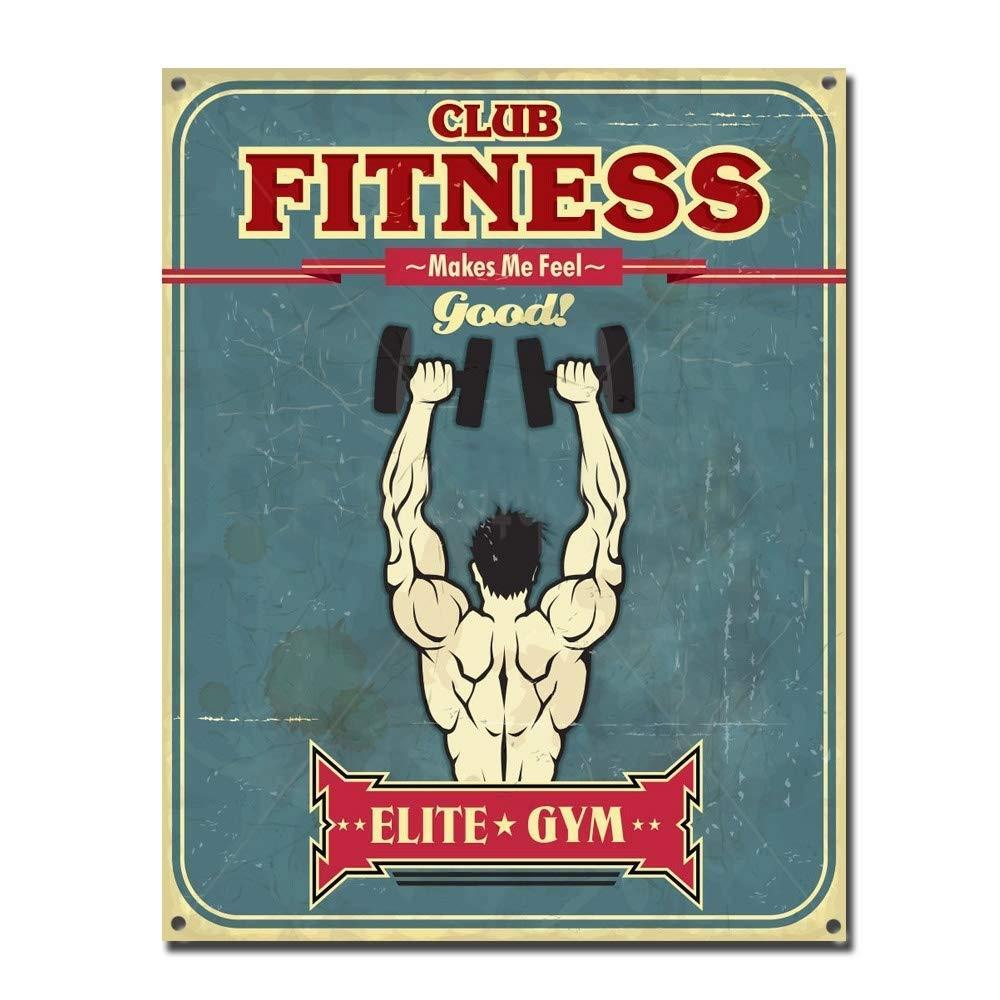Fitness Club Cartel De Chapa Vintage Esta/ño Signo Decorativas Hojalata Placa para Bar Cafe Oficina Habitaci/ón Garaje KODY HYDE P/óster De Pared Metal