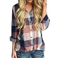 VJGOAL Damen Bluse, Damen Mode lässig Passenden Farbe herbstlichen Langarm-Taste lose Kariertes Hemd Bluse Top T-Shirt