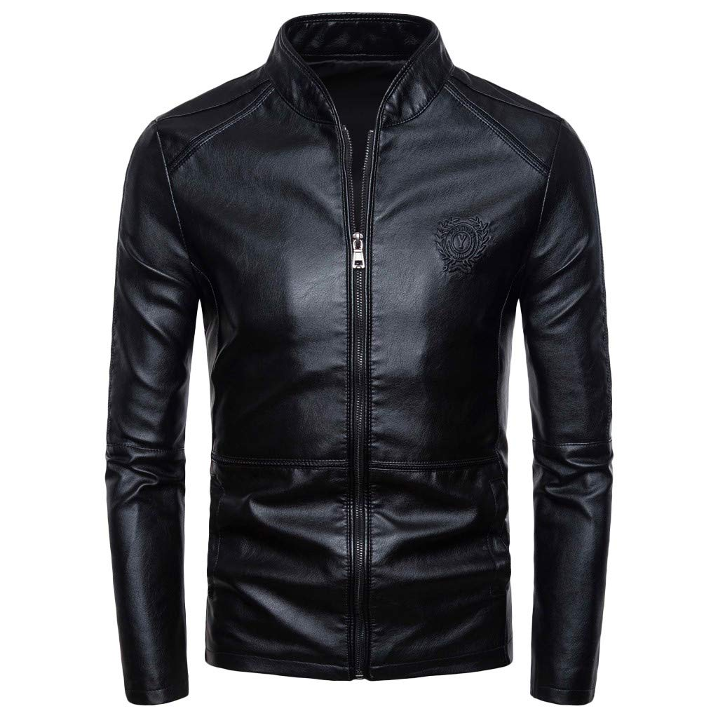 Men's Leather Jacket, NDGDA Male Autumn Winter New Retro Solid Collar Jacket Pure Long Sleeved Coat by NDGDA 🔰 Men's Jacket & Coat