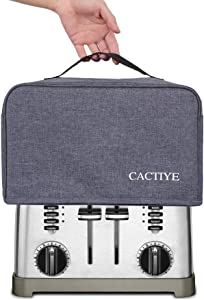 toaster Dust Cover with Pockets Compatible with Cuisinart 2 Slice Toaster, Can Hold Jam Spreader Knife & Toaster Tongs, Dust and Fingerprint Protection (11.5 * 7 * 7.5, gray)