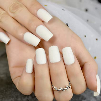 Amazon.com : CoolNail Warm Velvet Fake Nails White Matte Acrylic Nails Flocking Velvet Flocking Powder Decoration False Nail Art : Beauty