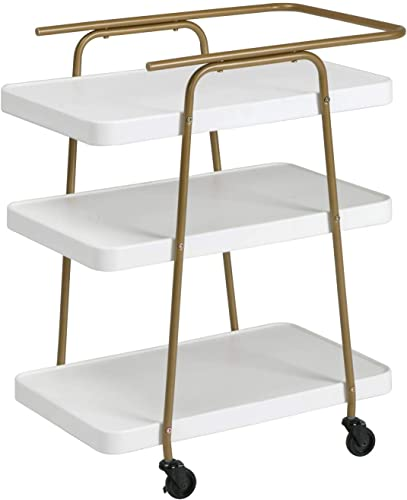 COSCO Stylaire 3 Tier Serving Cart, White Gold