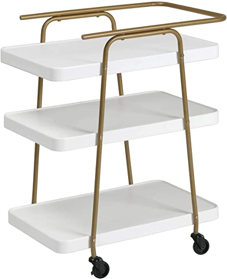 Amazon Com Cosco Stylaire 3 Tier Serving Cart White Gold Bar Serving Carts