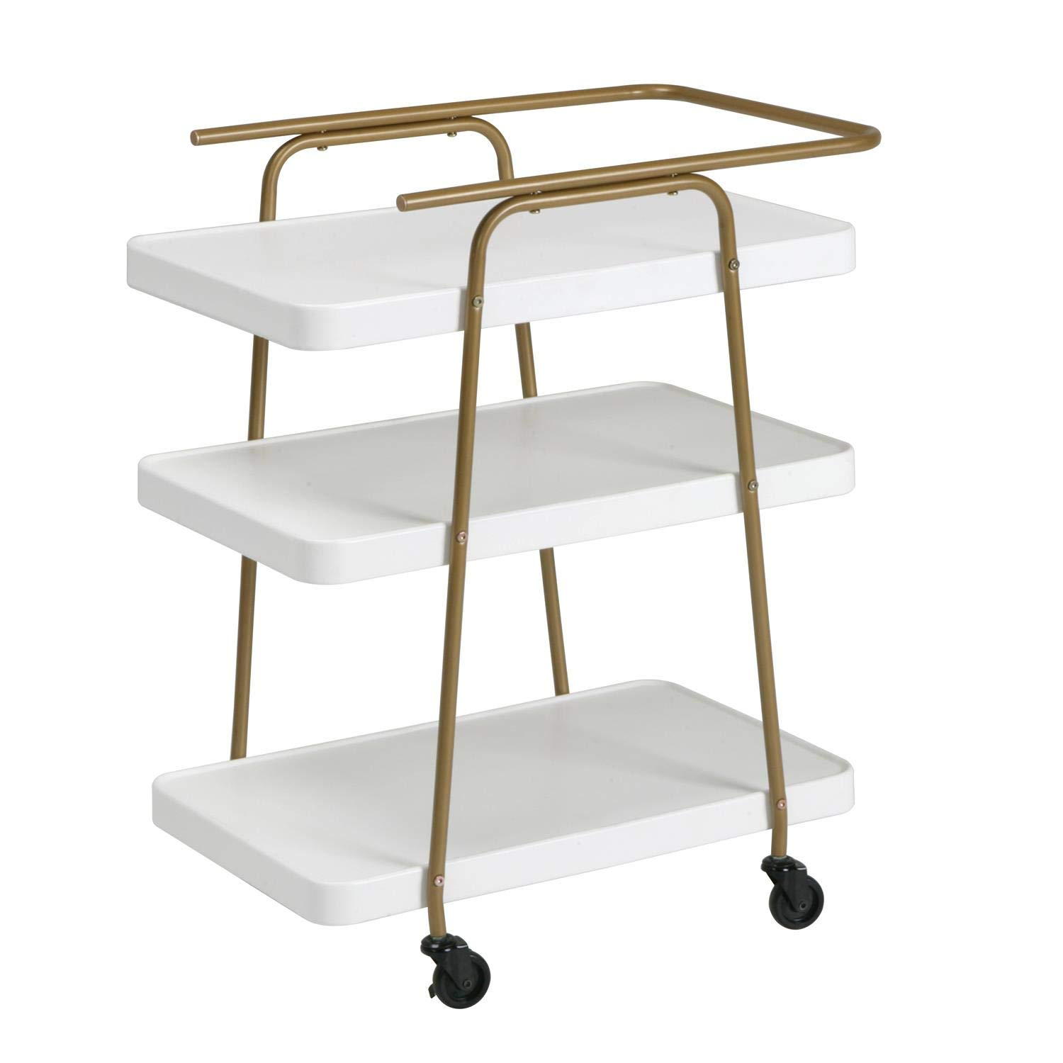 COSCO Stylaire 3 Tier Serving Cart, White & Gold by Cosco