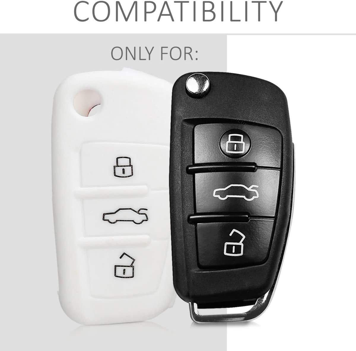 kwmobile Car Key Cover for Audi Germany Black//Yellow//White Silicone Protective Key Fob Cover for Audi 3 Button Flip Key
