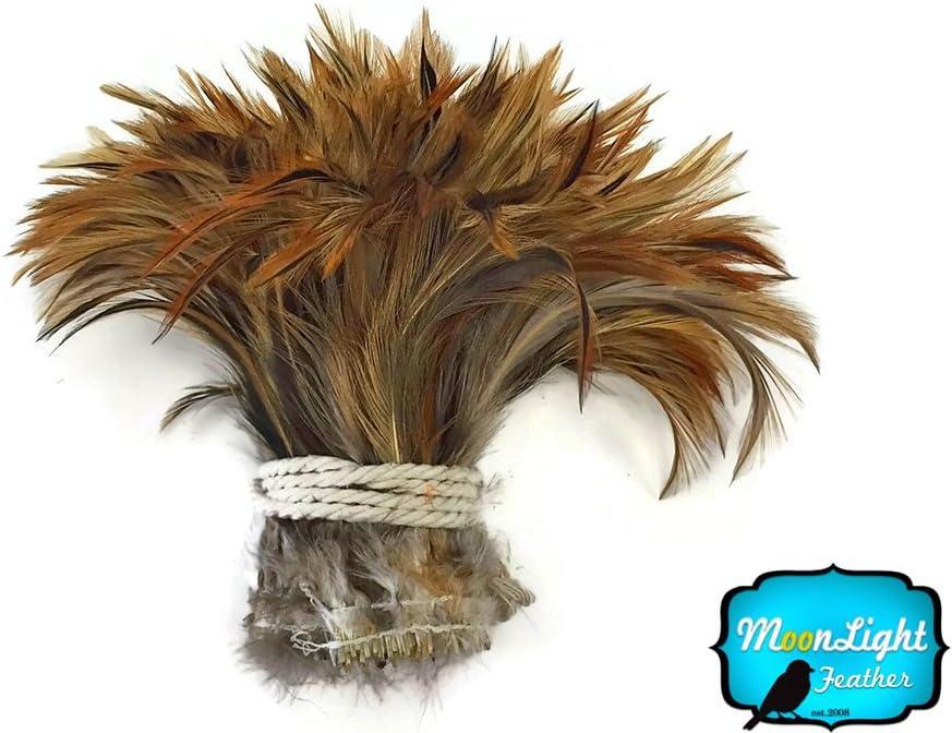 GOLDEN BADGER Strung Rooster Neck Hackle Feathers 4 Inch Strip