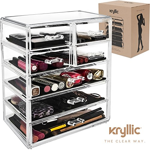 Acrylic Cosmetic Makeup Jewelry Organizer - Large 7 drawer make up holder for brush cream lipstick palette! Countertop beauty makeup organization box ideal storage for any bathroom or bedroom table! by Kryllic