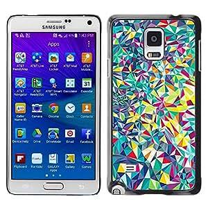 FECELL CITY // Duro Aluminio Pegatina PC Caso decorativo Funda Carcasa de Protección para Samsung Galaxy Note 4 SM-N910 // Lines Android Psychedelic