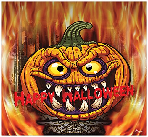 Victory Corps Outdoor Halloween Holiday Garage Door Banner Cover Mural Décoration - Scary Pumpkin in Flame Halloween Garage Door Banner Décor Sign 7'x8' -
