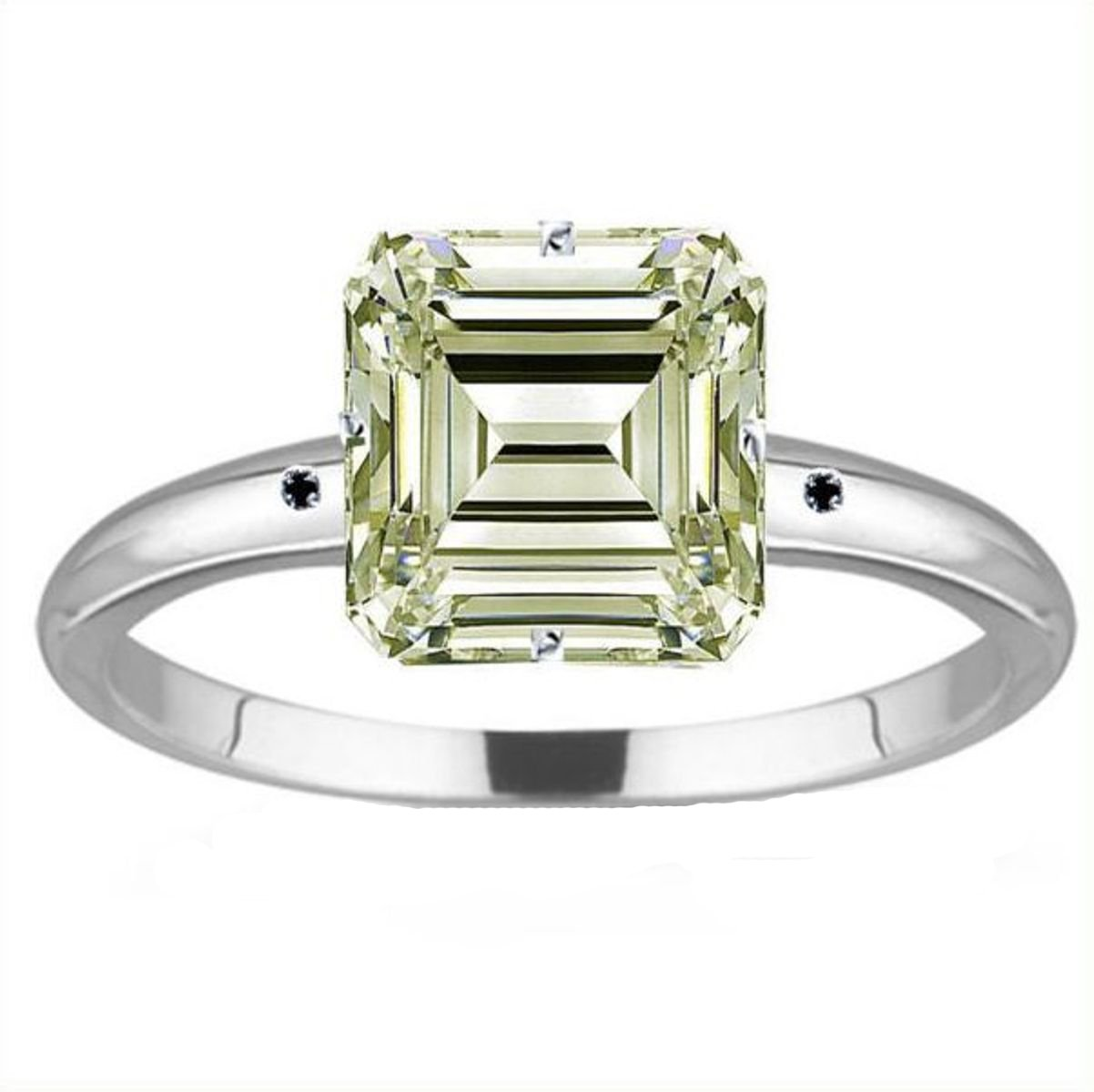 RINGJEWEL 6.48 ct SI1 Emerald Moissanite Silver Plated Engagement Ring Off White Color Size 7.
